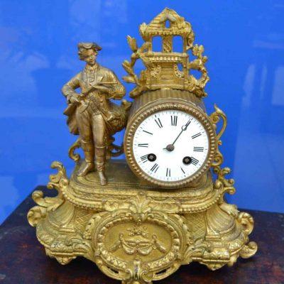 Orologio 1850 Napoleone III in regule con soldato alto 29 cm 202746011970