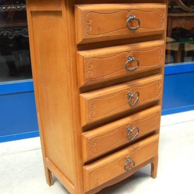 Piccola cassettiera in faggio a 5 cassetti maniglie in ferro h 91 cm SPEDIZIO 193512707760 2