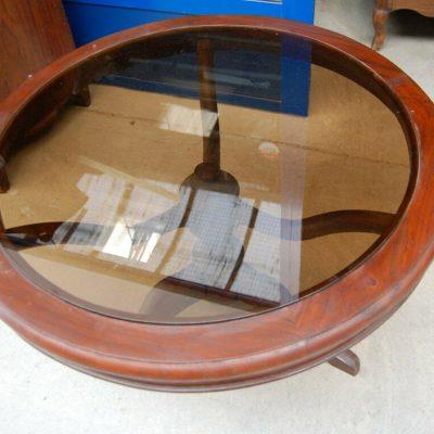 Tavolino da salotto mogano diametro 84 cm vetro fum gamba artistica 3 piedi 192927564520 2
