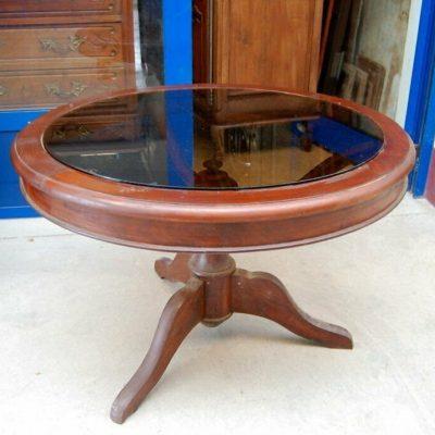 Tavolino da salotto mogano diametro 84 cm vetro fum gamba artistica 3 piedi 192927564520