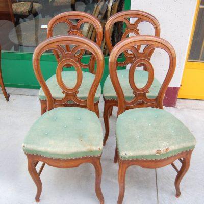 4 sedie inglesi in mogano 800 schienale decorato 192808254481