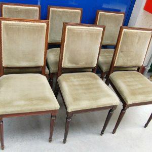 6 sedie in stile Luigi XVI imbottite gamba a spillo scanalata 193011814481
