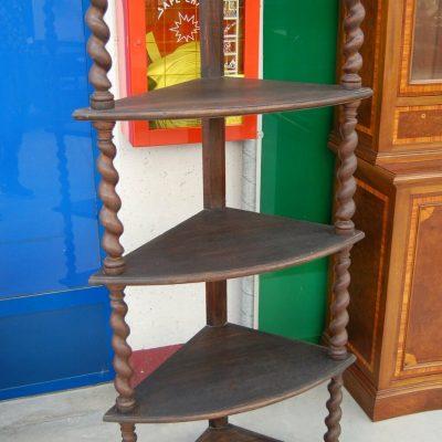 Angoliera in stile Luigi XIII rovere a 5 ripiani con colonne a torciglione h 202746622581