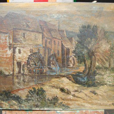 Olio su tela firmato R Zangroni scorcio campestre con mulino 81 x 55 cm 202844693231 3