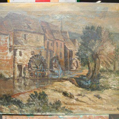 Olio su tela firmato R Zangroni scorcio campestre con mulino 81 x 55 cm 202844693231
