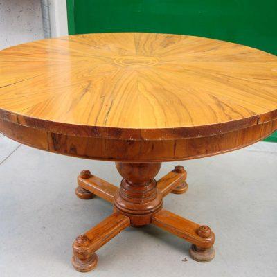 Raro tavolo rotondo in ulivo e radica di ulivo con gamba centrale diametro 12 202674487301