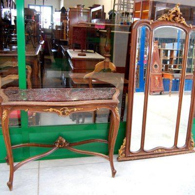 Consolle in faggio completa di specchiera stile Rocaille con dorature 193452677462