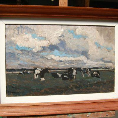 Veduta impressionista con mandria al pascolo e nuvole olio su tela 69 x 50 cm 202845183512