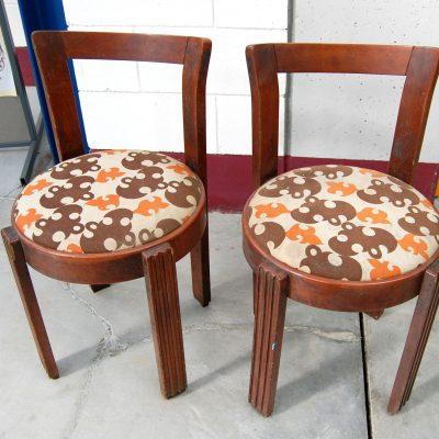 Coppia di sedie deco seduta imbottita rifinite con scanalature h 72 cm SPEDIZ 193394626413