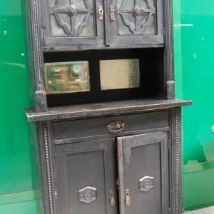 Credenza vetrina austriaca laccata nera a 4 ante con specchi e vetri decorati 203002818103 2