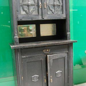 Credenza vetrina austriaca laccata nera a 4 ante con specchi e vetri decorati 203002818103