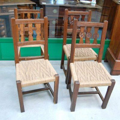 4 sedie rustiche in rovere di montagna seduta in paglia SPEDIZIONE GRATUITA 192812454184 2