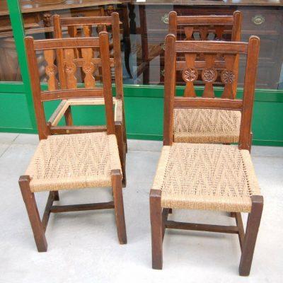 4 sedie rustiche in rovere di montagna seduta in paglia SPEDIZIONE GRATUITA 192812454184