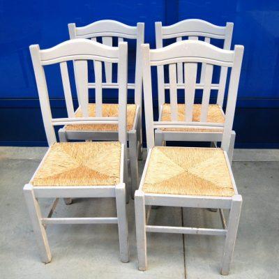 4 sedie rustiche vintage laccate grigio chiaro seduta in paglia SPEDIZIONE GR 193397749994 3