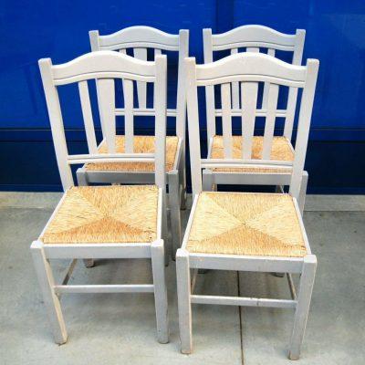4 sedie rustiche vintage laccate grigio chiaro seduta in paglia SPEDIZIONE GR 193397749994
