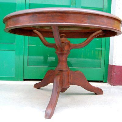 Tavolino da salotto in mogano con piano in vetro fum diametro 84 cm gamba ra 202718890224 2