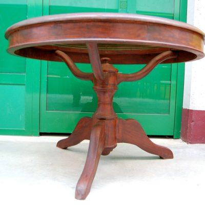 Tavolino da salotto in mogano con piano in vetro fum diametro 84 cm gamba ra 202718890224