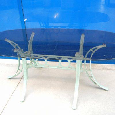 Tavolo in vetro fum met 900 lungo 178 cm gamba in ferro laccata verde acqua 192373372744 2