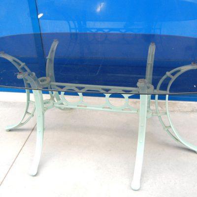 Tavolo in vetro fum met 900 lungo 178 cm gamba in ferro laccata verde acqua 192373372744