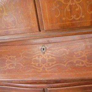 Trumeau credenza con alzata e ribalta barocchetto in ciliegio con intarsi in 192628202114 2