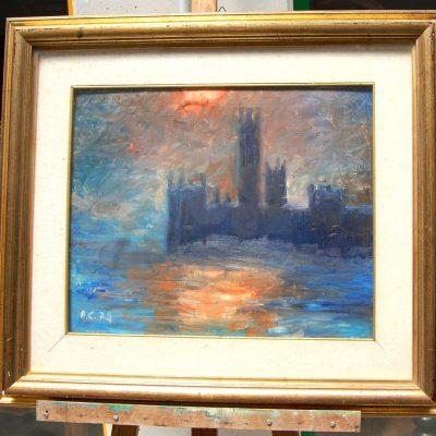 Scorcio impressionista con castello firmato AC 74 dimensioni 75 x 65 cm 193244185075 3