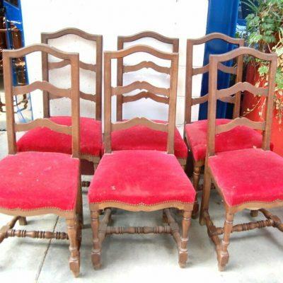 6 sedie in noce traversine rocchettate imbottite rivestimento in velluto SPED 192925850306 2