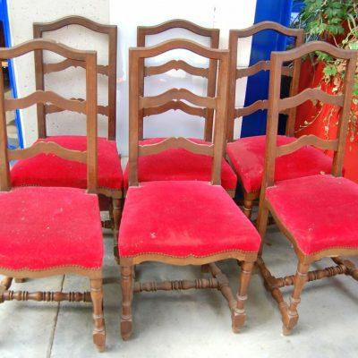6 sedie in noce traversine rocchettate imbottite rivestimento in velluto SPED 192925850306