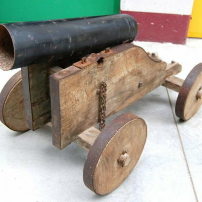 Riproduzione di cannone giocattolo primo 900 in legno e ferro lungo 97 cm 193283494067