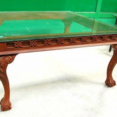 Tavolino etnico quadrato 90 cm x 90 cm piano in vetro gamba scolpita 202802005347