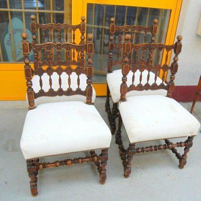 4 sedie in noce con seduta imbottita e schienale decorato fine 800 spedizion 192837325278 2
