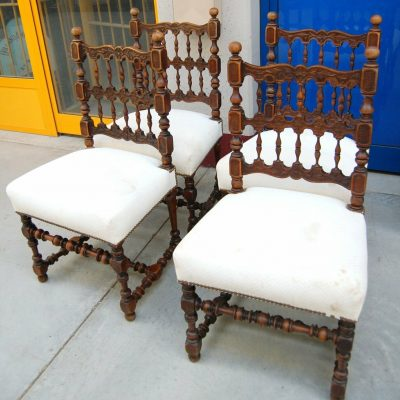 4 sedie in noce con seduta imbottita e schienale decorato fine 800 spedizion 192837325278