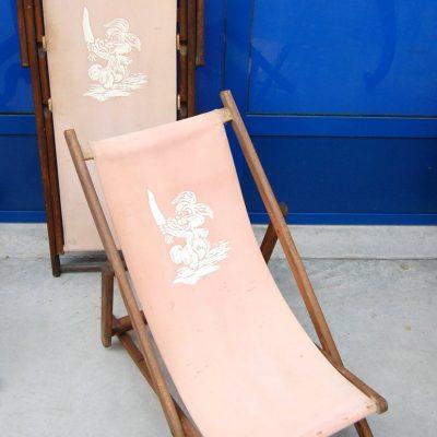 Coppia di sdraio da bambino in pioppo e tela con coniglietto stampato inizio 202734219458 2