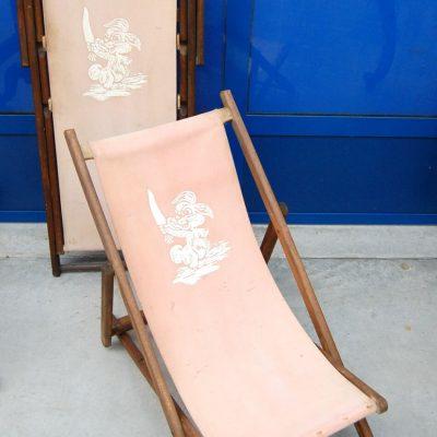 Coppia di sdraio da bambino in pioppo e tela con coniglietto stampato inizio 202734219458