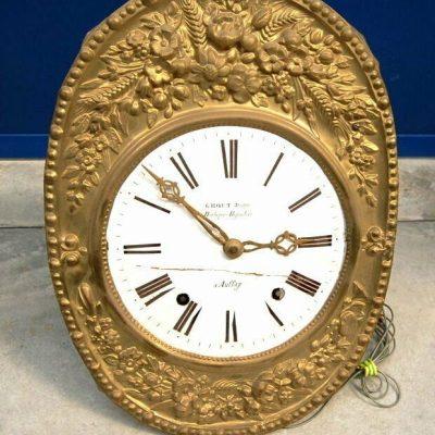 Meccanismo e fronte di orologio a pendolo in ottone sbalzato met 800 193481740688